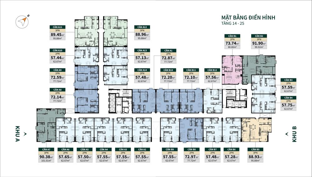 mặt bằng căn hộ la cosmo tầng 14-25