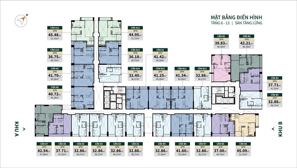 mặt bằng căn hộ la cosmo tầng 6-13 lửng