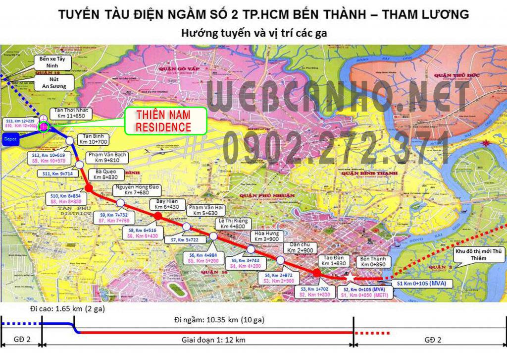 Sơ đồ tuyến Metro số 2 đi qua Thiên Nam Residence
